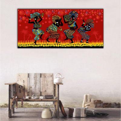 Afrika Etnik Dansçılar Panoramik Kanvas Tablo