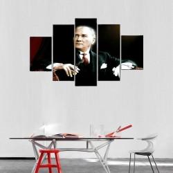 Atatürk Portre 5 Parçalı Kanvas Tablo - Thumbnail