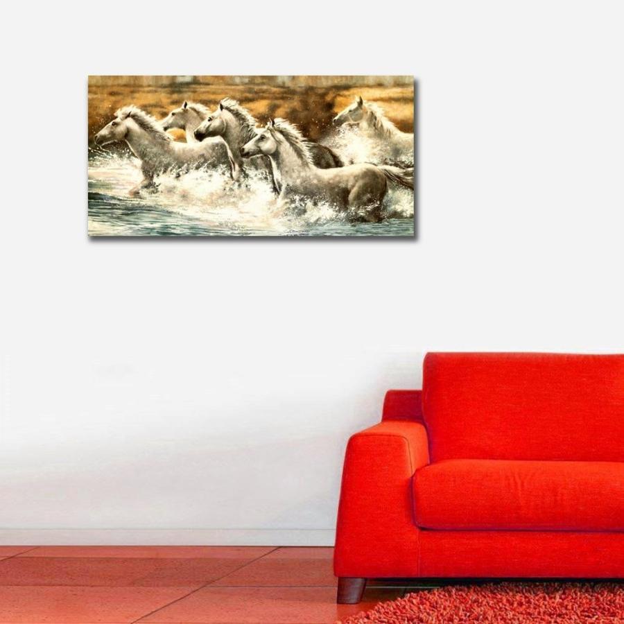 Beyaz Atlar Yatay Panoramik Kanvas Tablo
