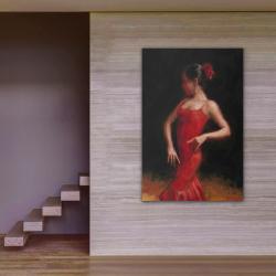 Dans Eden Kırmızı Elbiseli Kadın 2 Kanvas Tablo - Thumbnail