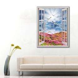 Doğaya Açılan Pencere Manzarası Kanvas Tablo - Thumbnail