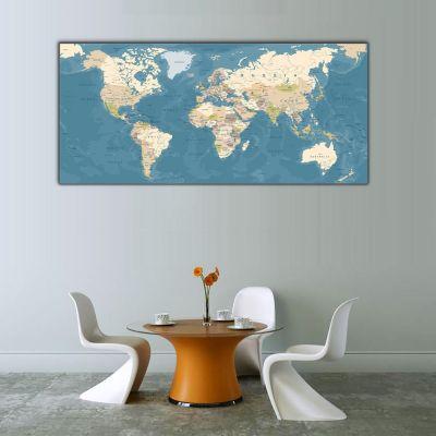Dünya Haritası Panoramik Kanvas Tablo