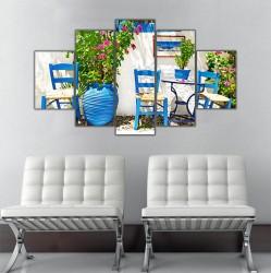 Ege ve Mavi Sandalye 5 Parçalı Kanvas Tablo