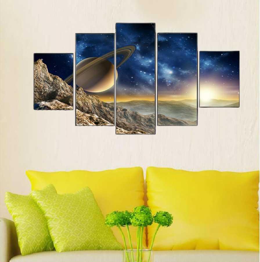 Gezegenler 5 Parçalı Kanvas Tablo