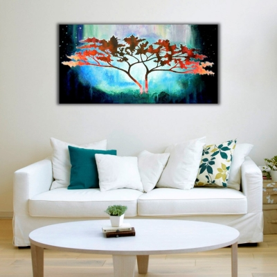 Hayat Ağacı Panoramik Kanvas Tablo