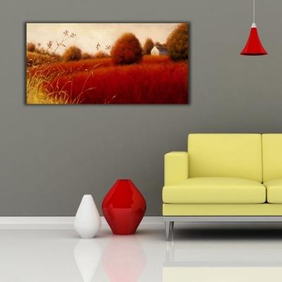 Kırmızı Başaklar Tarlası Panoramik Kanvas Tablo