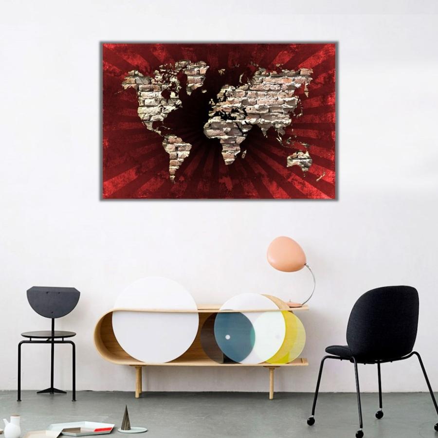 Kıtalar Haritası Kanvas Tablo