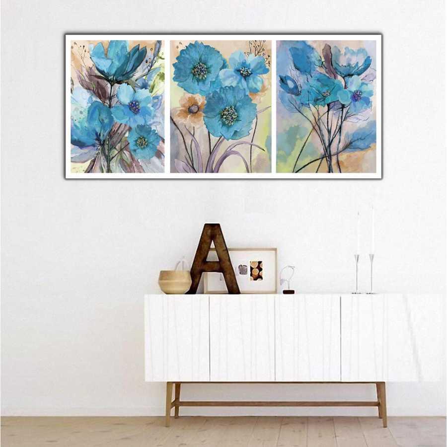 Mavi Çiçekler Panoramik Kanvas Tablo