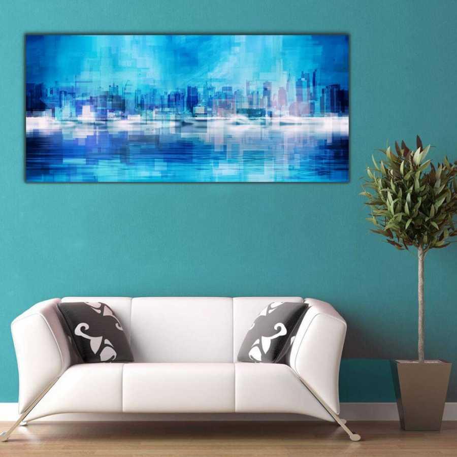 Mavinin Tonları Panoramik Kanvas Tablo
