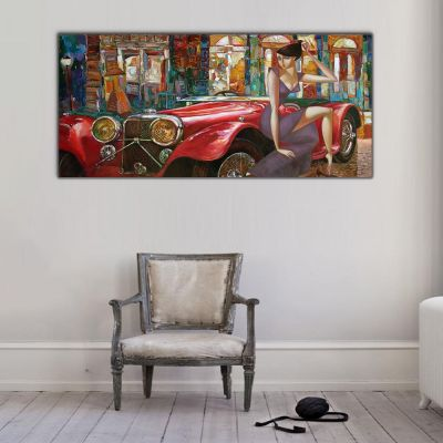 Retro Otomobil ve Kadın Panoramik Kanvas Tablo