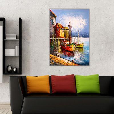 Sahil Kasabası ve Tekneler Kanvas Tablo