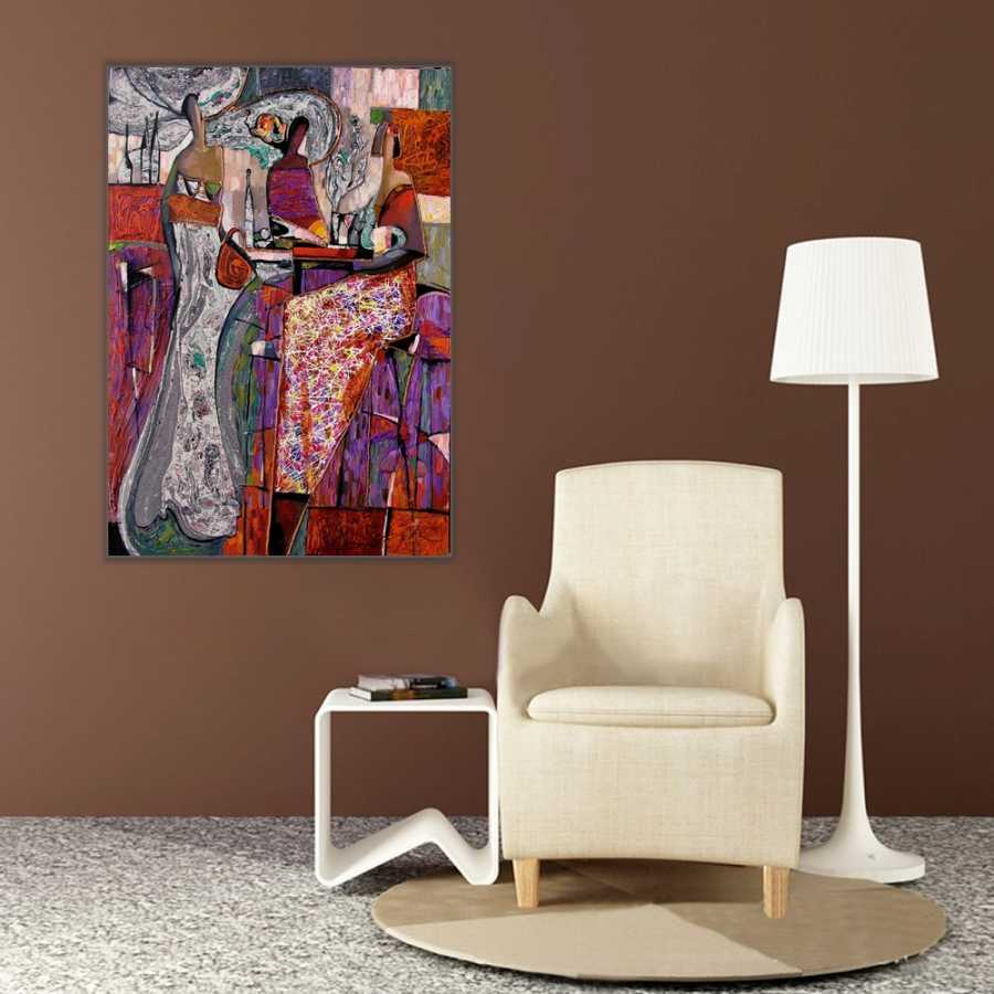 Sanatsal Soyut renkler ve İnsanlar Kanvas Tablo