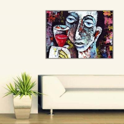 Şarap ve Kadın Kanvas Tablo