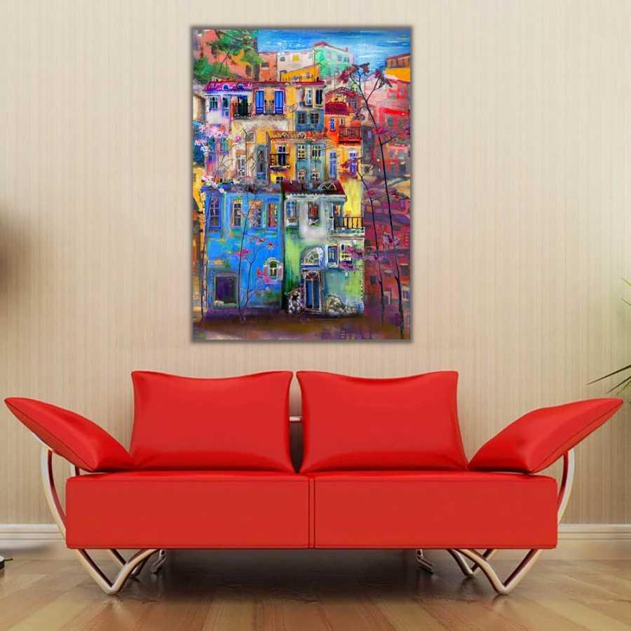 Şehir ve Renkli Apartmanlar Kanvas Tablo 2