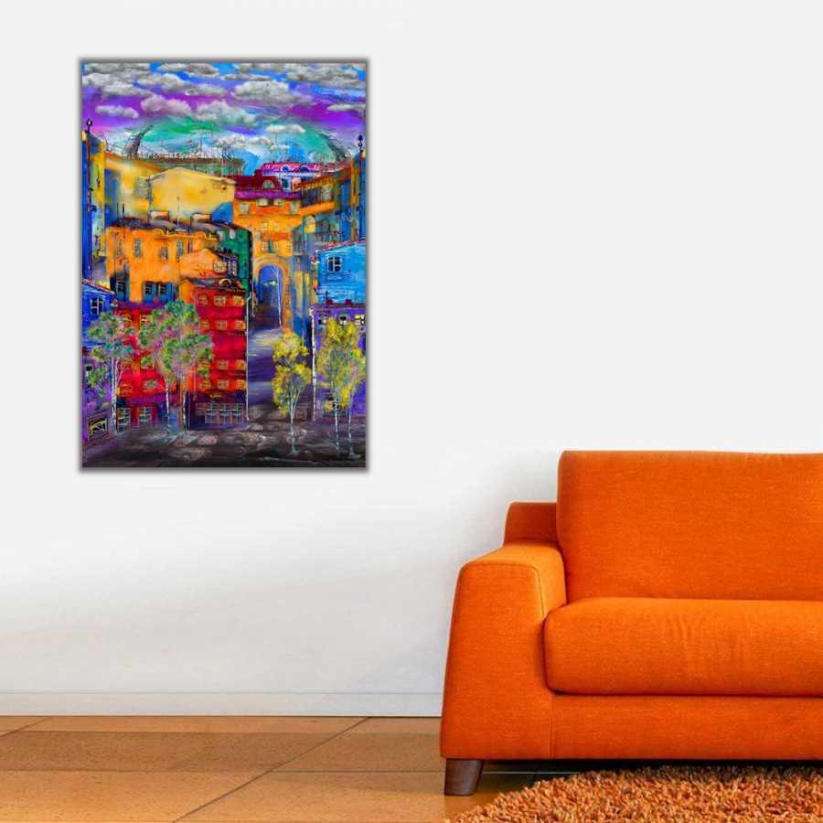Şehir ve Renkli Apartmanlar Kanvas Tablo