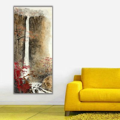 Sonbahar ve Şelale Dikey Panoramil Kanvas Tablo