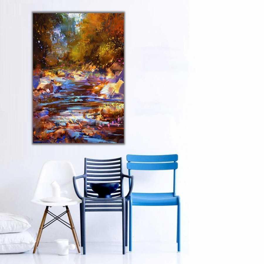 Sonbaharda Kahverengi Nehir Kanvas Tablo
