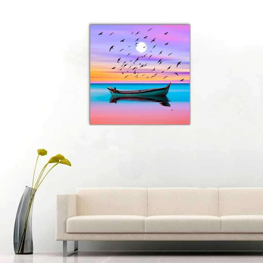 Tekne ve Kuş Sürüsü Kanvas Tablo