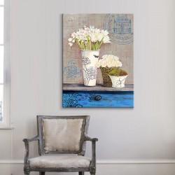 Vazolarda Çiçekler Kanvas Tablo - Thumbnail