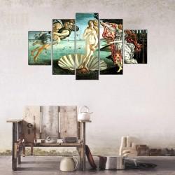 Venüs'ün Doğuşu - Boticelli (Mitolojik Tablolar) 5 Parçalı Kanvas Tablo - Thumbnail