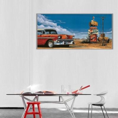 Vintage Otomobil Panoramik Kanvas Tablo