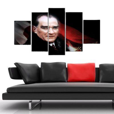 Atatürk 5 Parçalı Kanvas Tablo