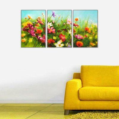 Bahar Çiçekleri Parçalı Kanvas Tablo