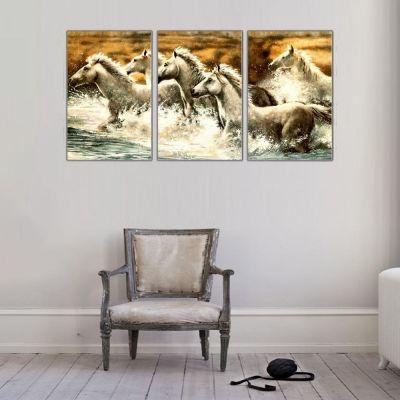 Beyaz At Sürüsü Parçalı Kanvas Tablo