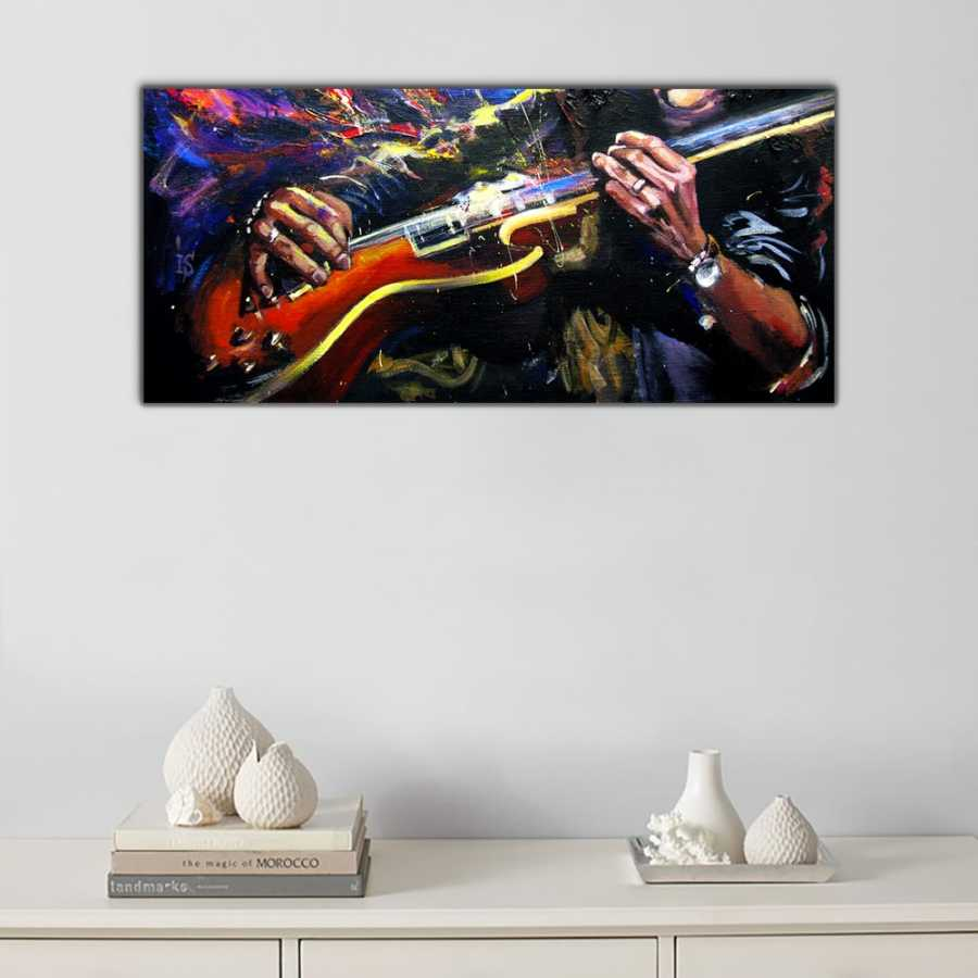 Blues Gitarist Panoramik Kanvas Tablo
