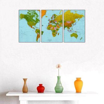 Coğrafi Dünya Haritası Parçalı Kanvas Tablo