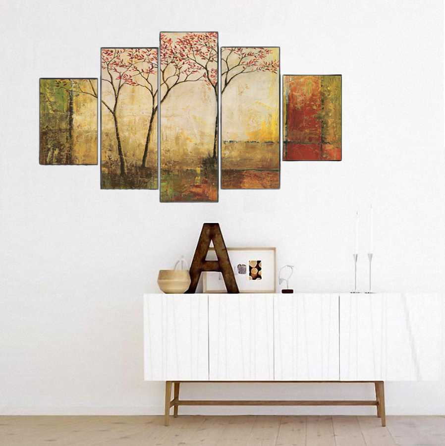 Dekoratif Sonbaharda Ağaçlar (Yağlı Boya) 5 Parçalı Kanvas Tablo