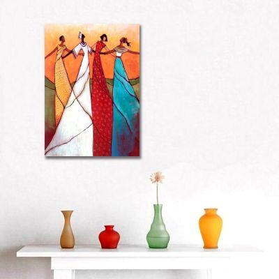 Dört Renk Dört Kadın Kanvas Tablo