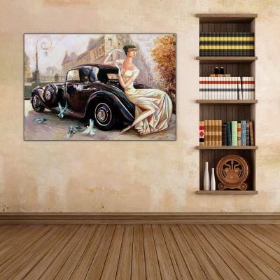 Kadın ve Vintage Otomobil Tablosu 1