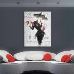 Kırmızı Eldiven Kadın Kanvas Tablo - Thumbnail