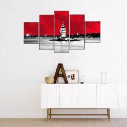 Kırmızı Fonda Kız Kulesi 5 Parçalı Kanvas Tablo - Thumbnail