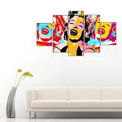 Marilyn Monroe Pop Art 5 Parçalı Kanvas Tablo - Thumbnail