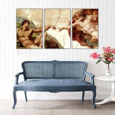Michelangelo Adem'in Yaratılışı Parçalı Kanvas Tablo