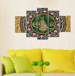 Osmanlı Tuğra 5 Parçalı Kanvas Tablo - Thumbnail