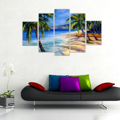 Palmiyeler ve Sahil Kanvas Tablo