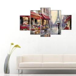 Paris Sokak ve Eyfel Kulesi 5 Parçalı Kanvas Tablo - Thumbnail