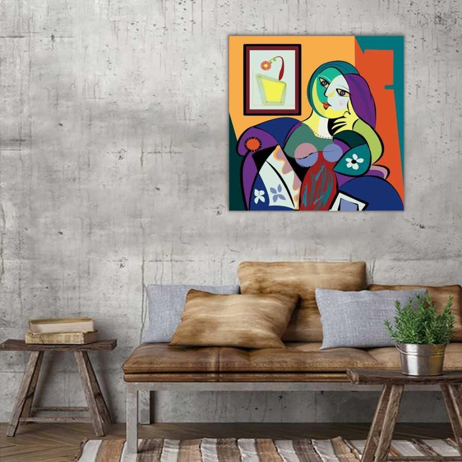 Renkler ve Kadın Kanvas Tablo