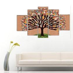 Renkli Ağaçlar 5 Parçalı Kanvas Tablo - Thumbnail