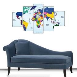 Renkli Dünya Haritası 5 Parçalı Kanvas Tablo
