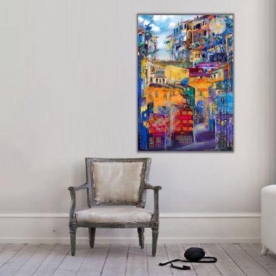 Şehir ve Renkli Apartmanlar Kanvas Tablo 1