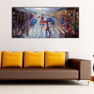 Şehir ve Yaya Panoramik Kanvas Tablo