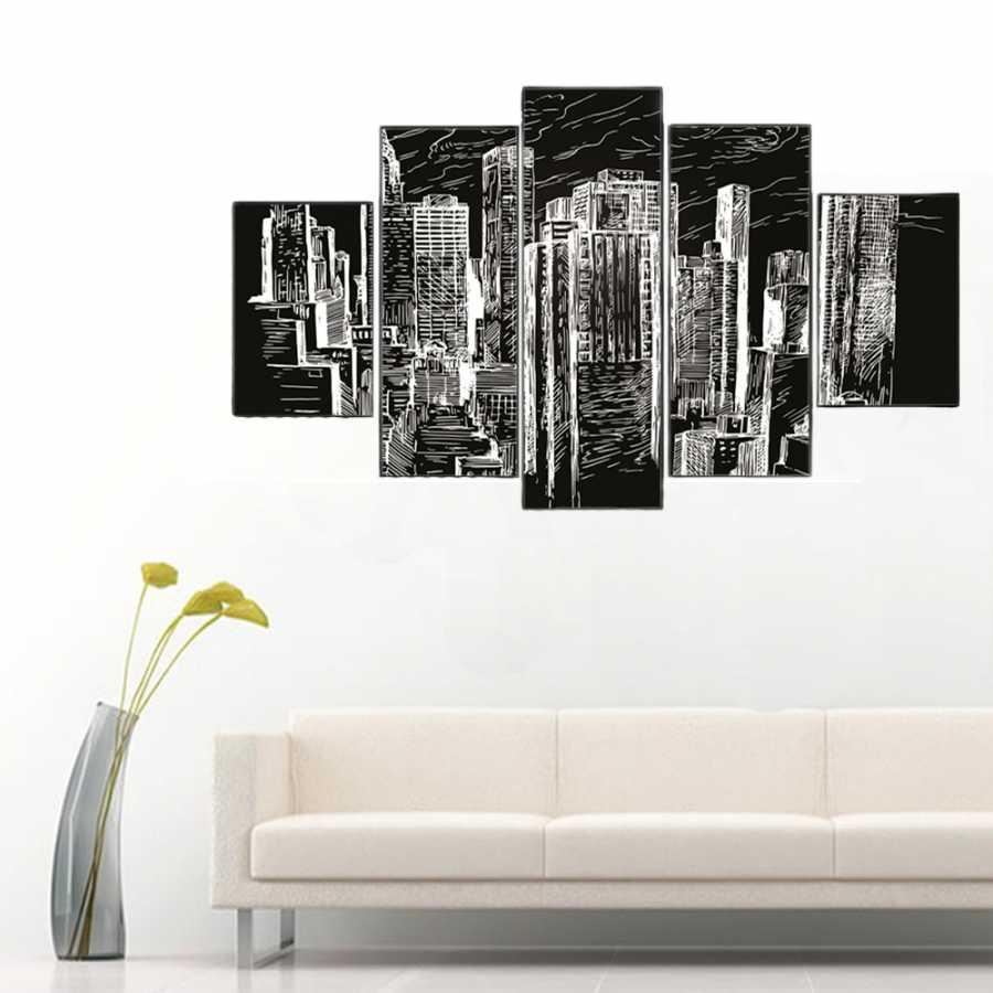 Siyah Beyaz Binalar 5 Parçalı Kanvas Tablo