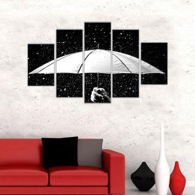 Siyah Beyaz Şemsiye ve Yağmur Kanvas Tablo