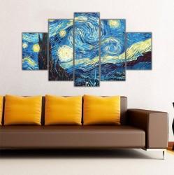 Starry Night - Gece Fırtınası Van Gogh 5 Parçalı Kanvas Tablo - Thumbnail
