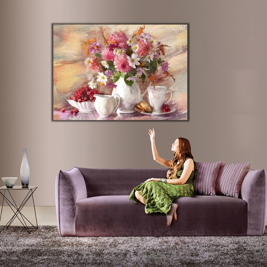 Vazo Cicekleri Kanvas Tablo Floral Cicek Tablolari Dekoratif