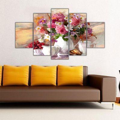 Vazoda Çiçekler 5 Parçalı Kanvas Tablo